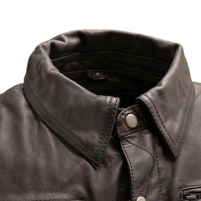 Men's Leather Motorcycle Jacket- First Mfg. Villain Collar