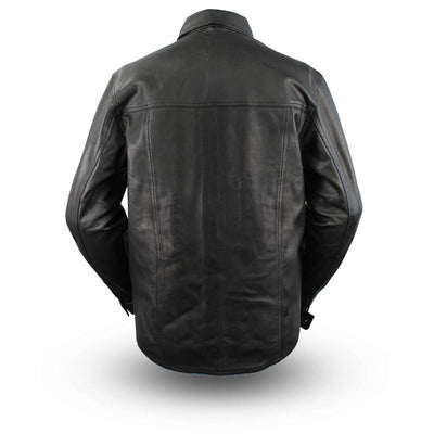 Motorcycle Jacket- First FIM403ES Men's Leather Riding Shirt Back