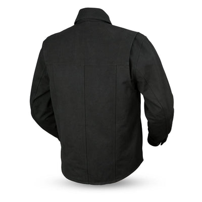 Motorcycle Jacket- First FIM417CNVS Mercer Canvas Men's Jacket Back