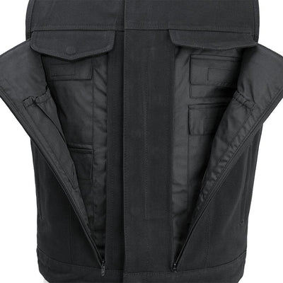 Men's Textile Motorcycle Vest - First Mfg. Fairfax V2 Canvas Black Front Pockets