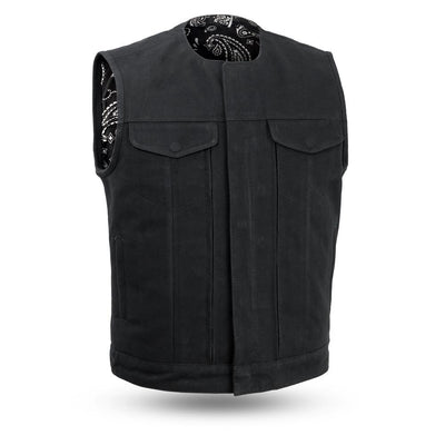 Men's Textile Motorcycle Vest - First Mfg. Fairfax V2 Canvas Black Front