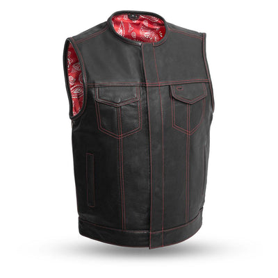 Men's Leather Motorcycle Vest - First Mfg. Bandit Red Front