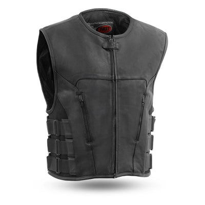 Men's Leather Motorcycle Vest - First Mfg. Commando Leather Black Front