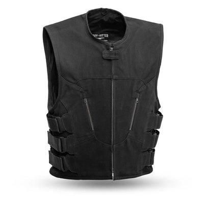 Men's Leather Motorcycle Vest - First Mfg. Commando Canvas Black Front