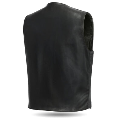 Men's Leather Motorcycle Vest - First Mfg. Tombstone Black Back