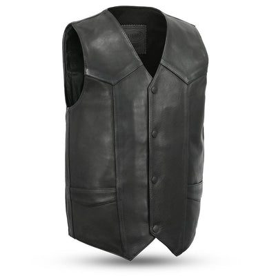 Men's Leather Motorcycle Vest - First Mfg. Tombstone Black Front