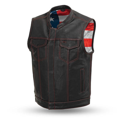 Men's Leather Motorcycle Vest - First Mfg. Born Free Red Stitch Front