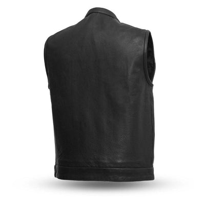 Men's Leather Motorcycle Vest - First Mfg. Born Free Black Stitch Back