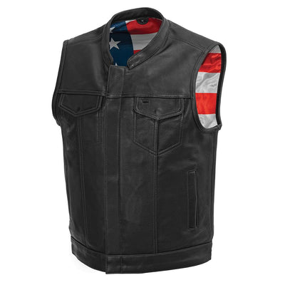 Men's Leather Motorcycle Vest - First Mfg. Born Free Black Stitch Front