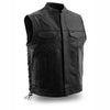 Motorcycle Vest- First Sniper FIM685CSL Single Panel MC Vest With Lace Sides and Collar
