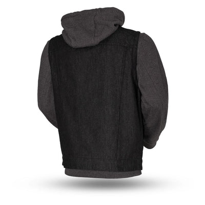 Men's Textile Motorcycle Vest - First Mfg. Rook Black & Grey Back