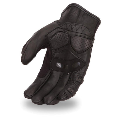 Men's Leather Motorcycle Gloves - First Mfg. FI151GL Black Hand