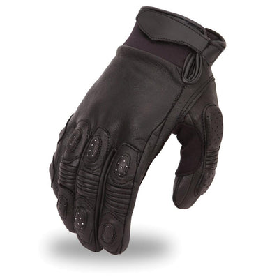 Men's Leather Motorcycle Gloves - First Mfg. FI151GL Black Top