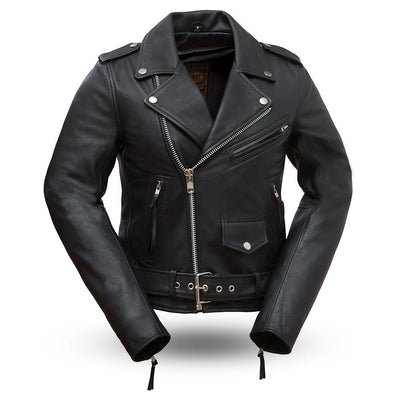 Women's Leather Motorcycle Jacket - First Mfg. Rockstar Black Front
