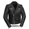 Women's Leather Motorcycle Jacket - First Mfg. Bikerlicious Black Front