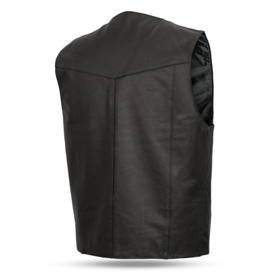 Men's Leather Motorcycle Vest - First Mfg. Top Shot Black Back
