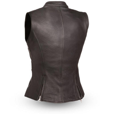 Motorcycle Vest- First Fairmont Leather Vest Back
