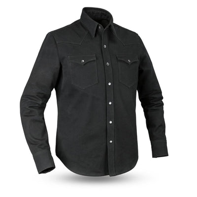 Men's Canvas Riding Shirt- First Mfg. Forsyth Black Front