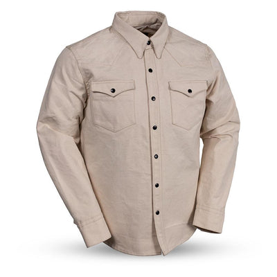 Men's Canvas Riding Shirt- First Mfg. Forsyth Natural White Front