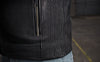 Men's Leather Motorcycle Jacket - First Mfg. Nemesis Black Elastic Sides