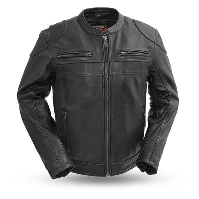 Men's Leather Motorcycle Jacket - First Mfg. Nemesis Black Front