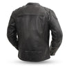 Men's Leather Motorcycle Jacket - First Mfg. Nemesis Black Back