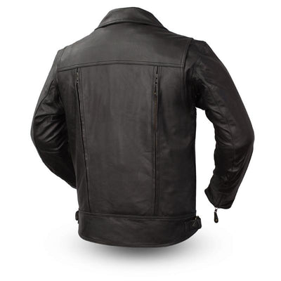 Men's Leather Motorcycle Jacket - First Mfg. Mastermind Black Back