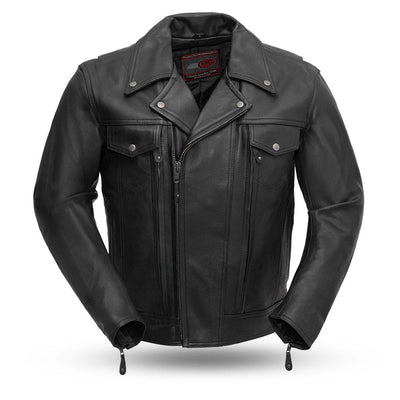 Men's Leather Motorcycle Jacket - First Mfg. Mastermind Black Front
