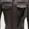 Men's Leather Motorcycle Jacket - First Mfg. Raider Copper Specialty Front Pockets