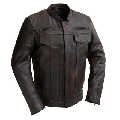 Men's Leather Motorcycle Jacket - First Mfg. Raider Copper Front