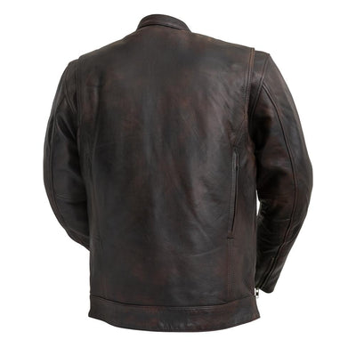 Men's Leather Motorcycle Jacket - First Mfg. Raider Copper Back