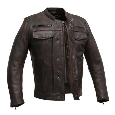 Men's Leather Motorcycle Jacket - First Mfg. Raider Copper Zipper Snap Front