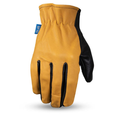 Men's Leather Motorcycle Gloves - First Mfg. Born Free 2-Tone Roper Yellow Top