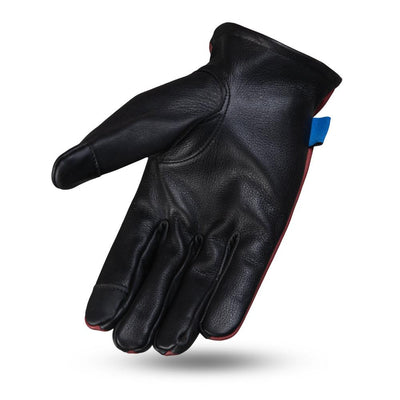 Men's Leather Motorcycle Gloves - First Mfg. Born Free 2-Tone Roper Oxblood Hand