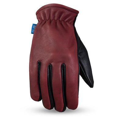 Men's Leather Motorcycle Gloves - First Mfg. Born Free 2-Tone Roper Oxblood Top