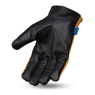 Men's Leather Motorcycle Gloves - First Mfg. Born Free 2-Tone Roper Yellow Hand