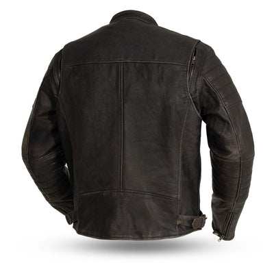 Men's Leather Motorcycle Jacket - First Mfg. Commuter Brown Back