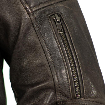 Men's Leather Motorcycle Jacket - First Mfg. Commuter Brown Sleeve Vent