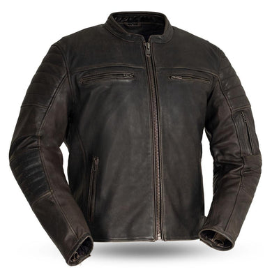 Men's Leather Motorcycle Jacket - First Mfg. Commuter Brown Front