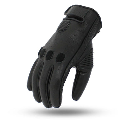 Men's Leather Motorcycle Gloves - First Mfg. Pinnacle Black Top