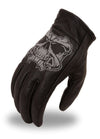 Men's Leather Reflective Skull Motorcycle Gloves