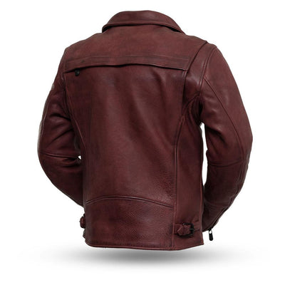 Men's Leather Motorcycle Jacket - First Mfg. Night Rider Oxblood Back