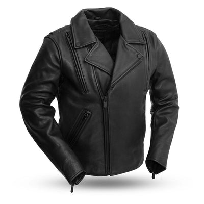 Men's Leather Motorcycle Jacket - First Mfg. Night Rider Black Front