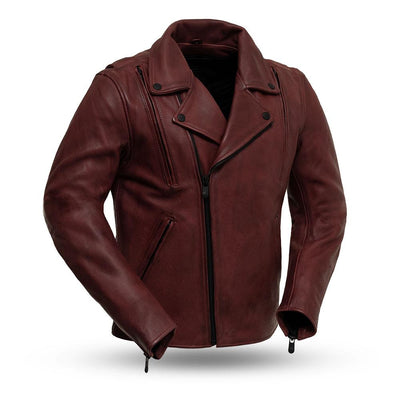 Men's Leather Motorcycle Jacket - First Mfg. Night Rider Oxblood Front