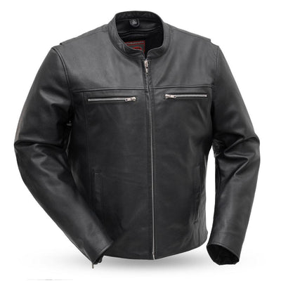 Men's Leather Motorcycle Jacket - First Mfg. Rocky Black Front