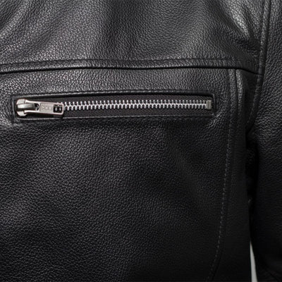 Men's Leather Motorcycle Jacket - First Mfg. Rocky Black Front Zipper Pocket Vent