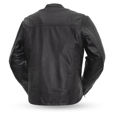 Men's Leather Motorcycle Jacket - First Mfg. Rocky Black Back