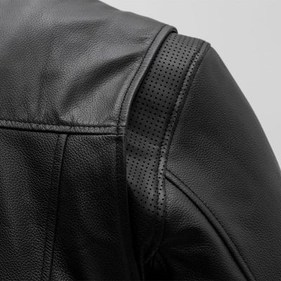 Men's Leather Motorcycle Jacket - First Mfg. Rocky Black Action Back Vent