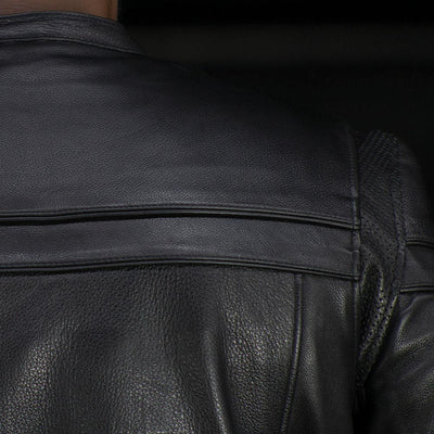 Men's Leather Motorcycle Jacket - First Mfg. The Maverick Black Action Back Shoulder