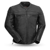 Men's Leather Motorcycle Jacket - First Mfg. The Maverick Black Front